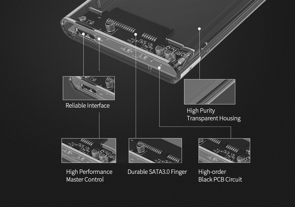 ORICO 2139U3 2.5 inch Transparent Hard Drive Enclosure for HDD / SSD Connectivity