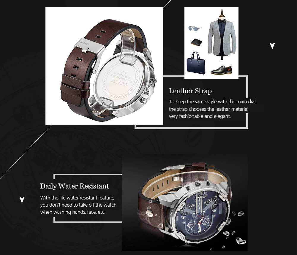 CAGARNY 6820 Date Function Male Quartz Watch Dual Movements Wristwatch with Decorative Sub-dials Leather Strap