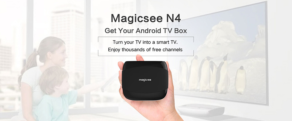 MAGICSEE N4 TV Box Amlogic S905X Android 7.1 2GB RAM + 16GB ROM 2.4G WiFi 100Mbps Support 4K H.265