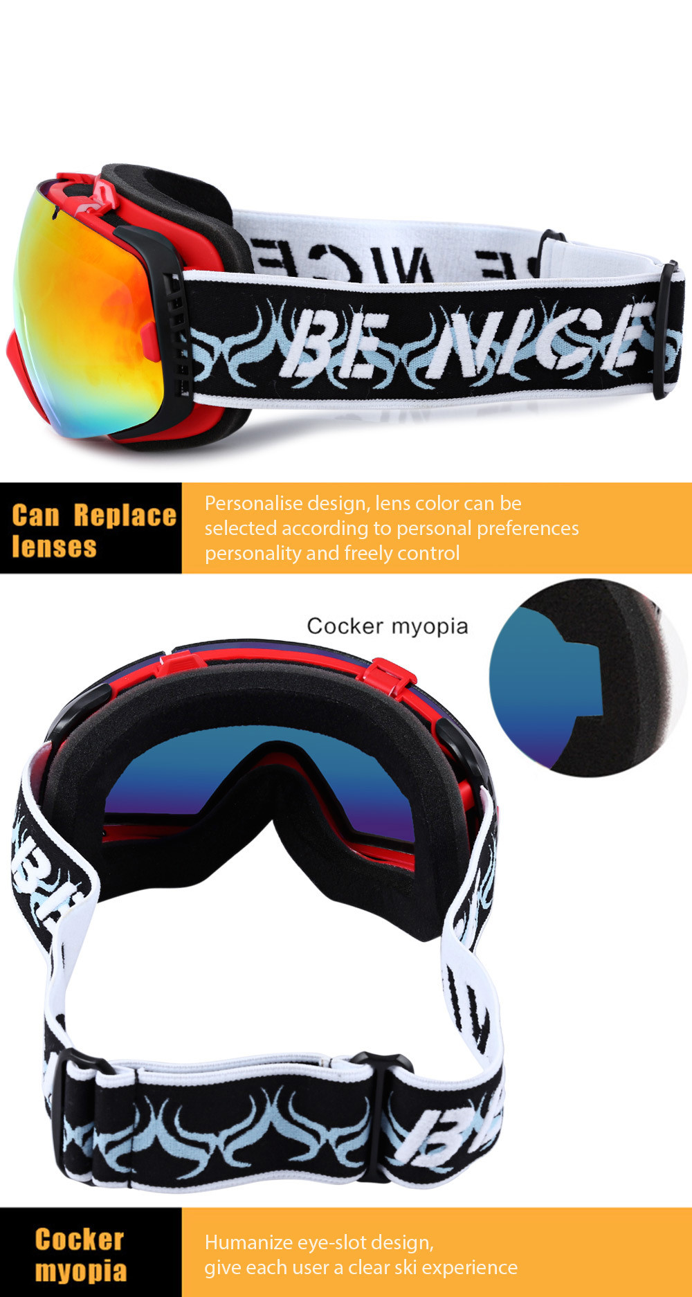 Be Nice 2084 Double Anti-fog Big Skiing Goggles Mask Men Women Snowboarding Glasses