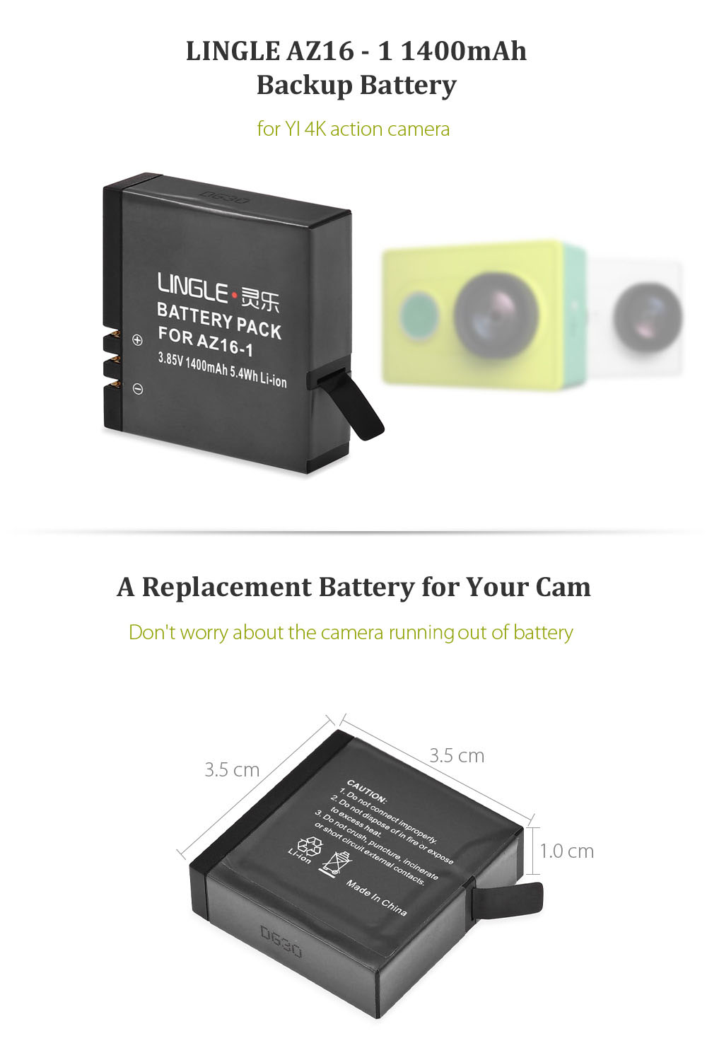 LINGLE AZ16 - 1 1400mAh Batteria di Backup per YI II 4K Fotocamera di Movimento