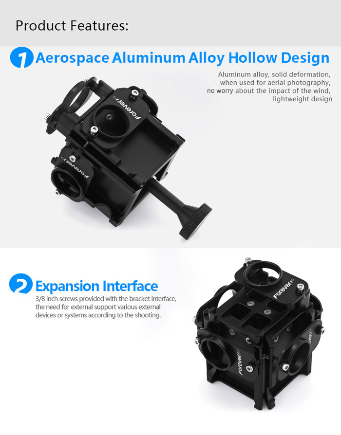 FOREVER100 FG4 + 1 Panorama Bracket for 5 GoPro Action Camera Aluminum Alloy Material