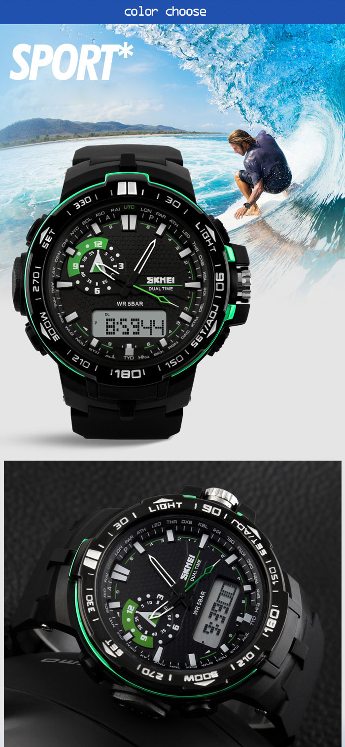 SKMEI 1081 Fashion Japan Movement Sports Male Watch with LED