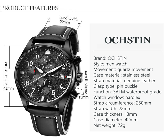 OCHSTIN Outdoor Frosted Surface Dial Male Quartz Watch