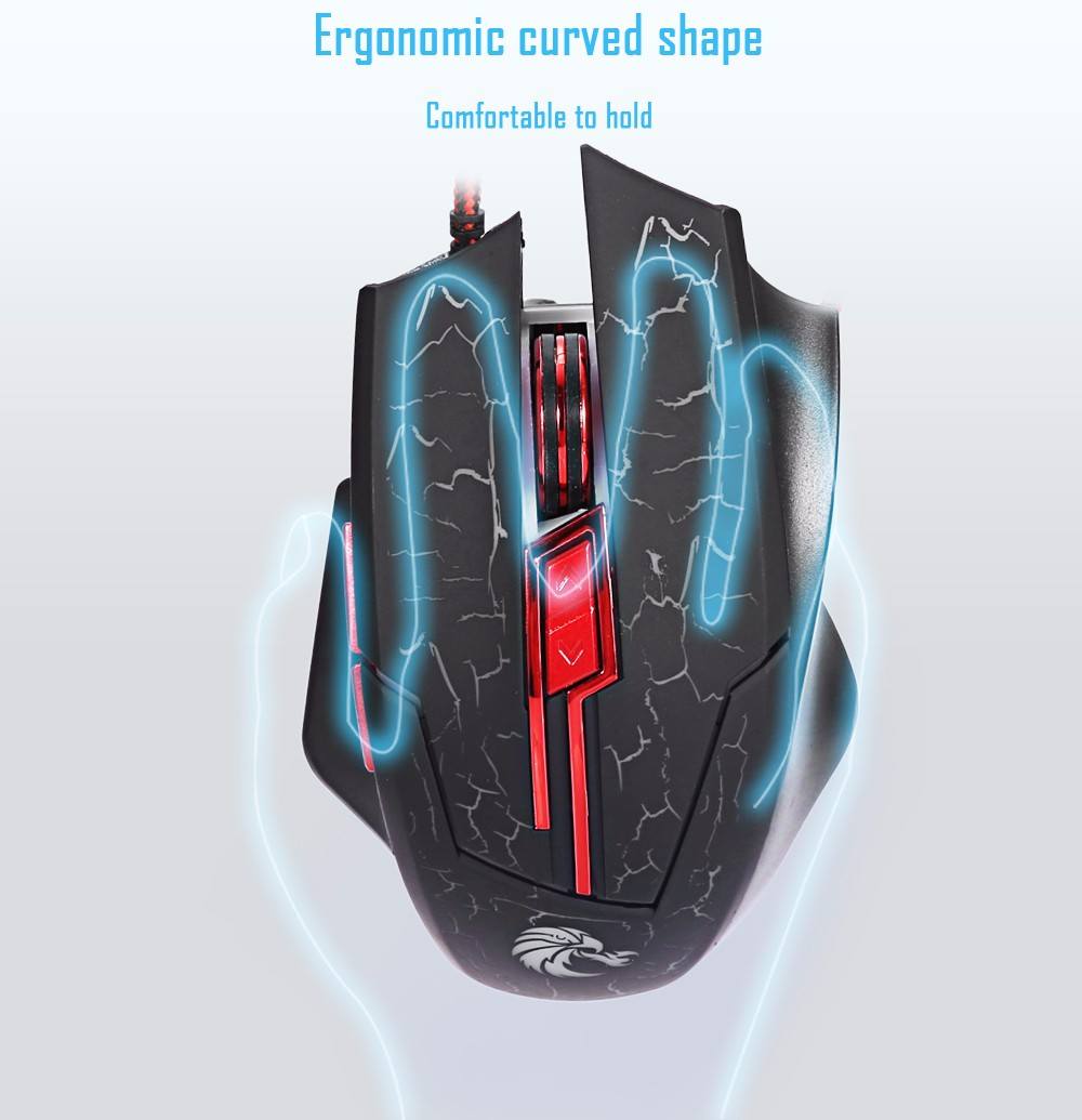 HXSJ H800 Optical 5500DPI 7D USB Gaming Wired Mouse with LED Backlight