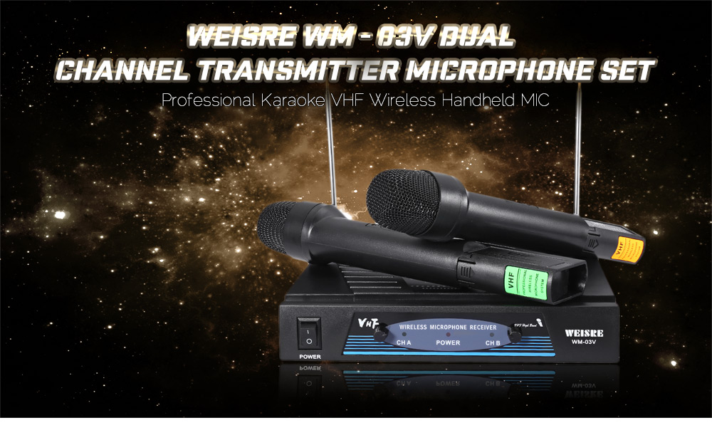 WEISRE WM - 03V Professional 220 - 270MHz VHF Wireless Handheld Dual Channel Transmitter Mic Set