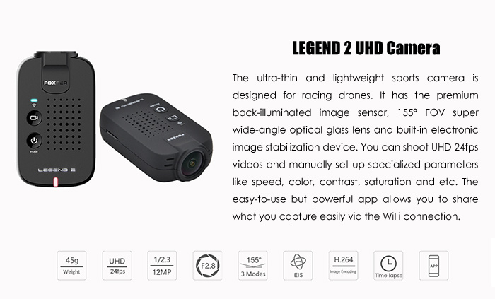 FOXEER Legend 2 12MP 4K UHD WiFi Action Camera F2.8 155 Deg FOV for FPV Racing Drones