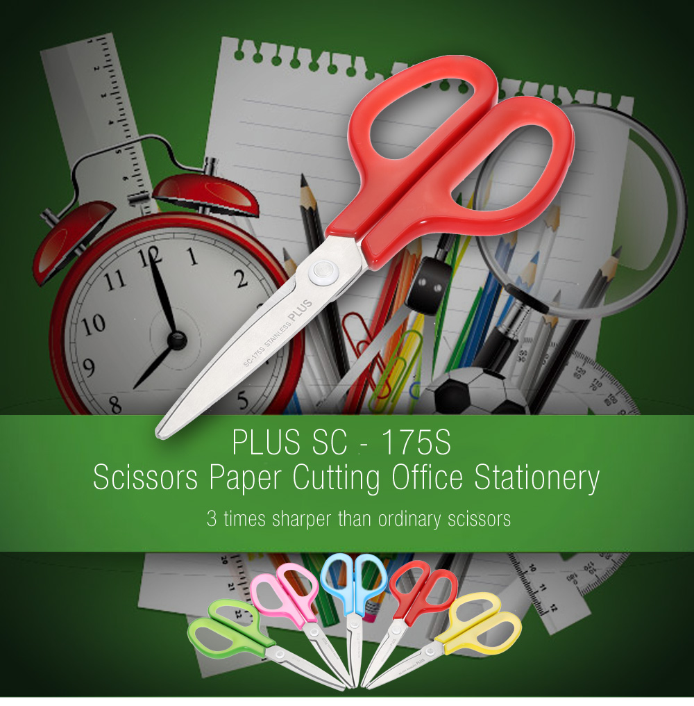 PLUS Stainless Steel Scissors Paper Cutting Office Stationery