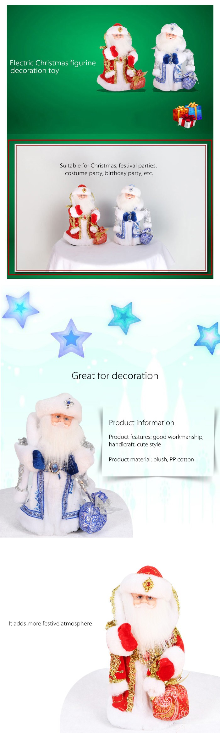 Santa Clause Figure Model Lovely Plush Doll Soft Cute Stuffed Toy with Music - 11.8 inch