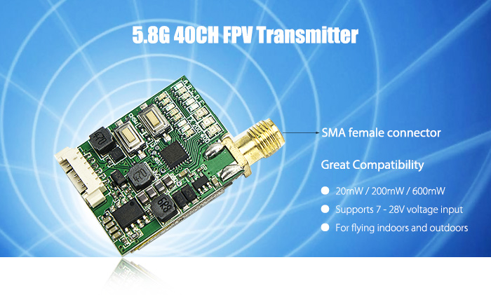 5.8G 40CH Video Transmitter 25mW / 200mW / 600mW Adjustable with RaceBand for Racing Drones