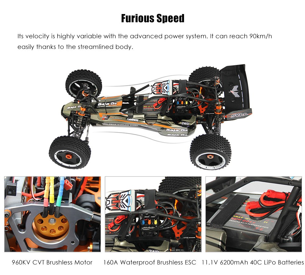 SY E - BAJA 1:5 2WD Off-road RC Racing Car RTR 90km/h / 30kg/cm Steering Servo / 960KV CVT Brushless Motor