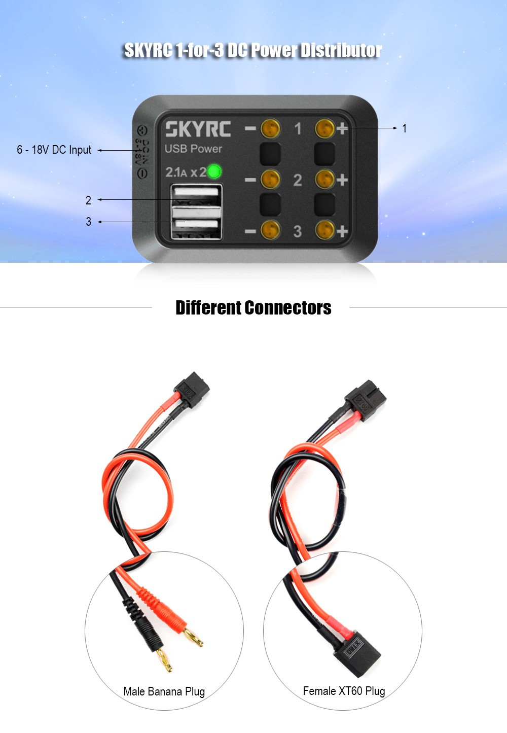 SKYRC 1-for-3 Mini DC Power Distributor with Double USB Outputs