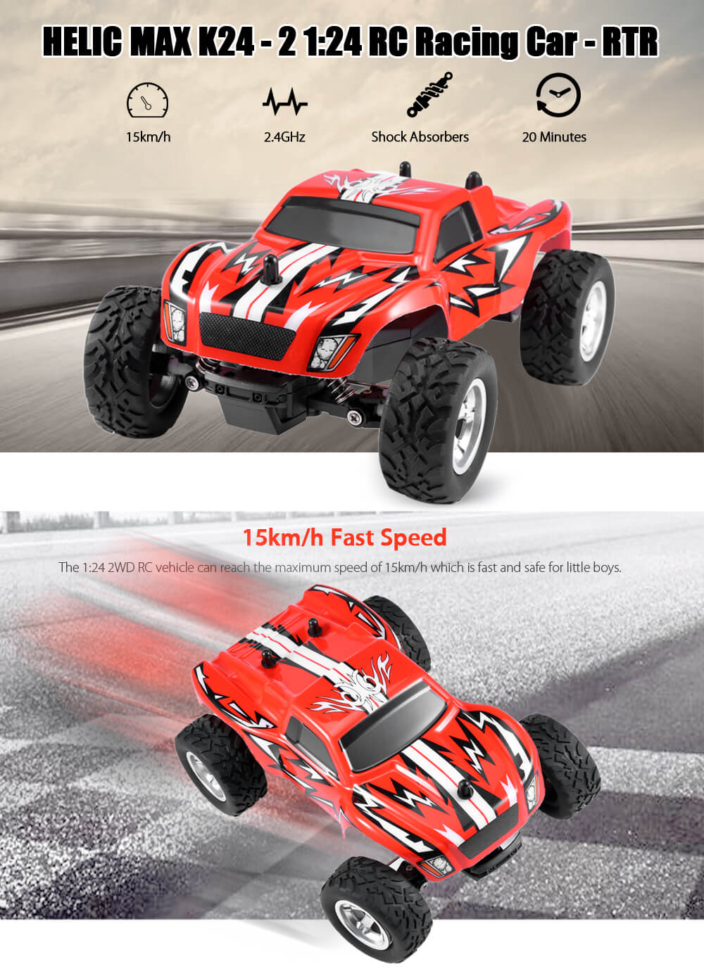 HELIC MAX K24 - 2 1:24 RC Racing Car RTR 15km/h 2.4GHz 2WD Shock Absorbers