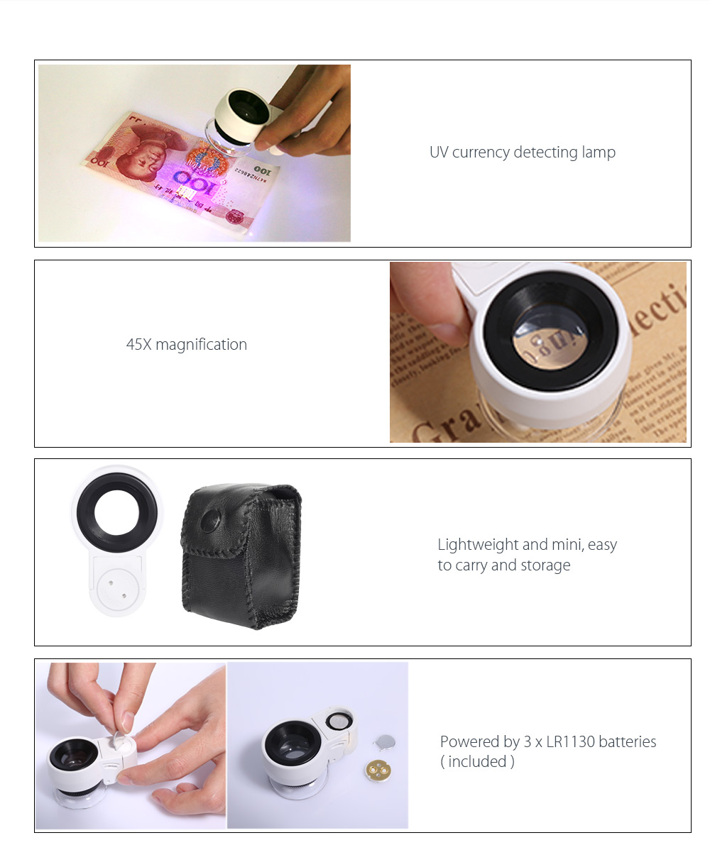 Beileshi Mini 45X Adjustable Magnifying Glass Magnifier with LED UV Light for Jewelry Antiques Gems Stamps