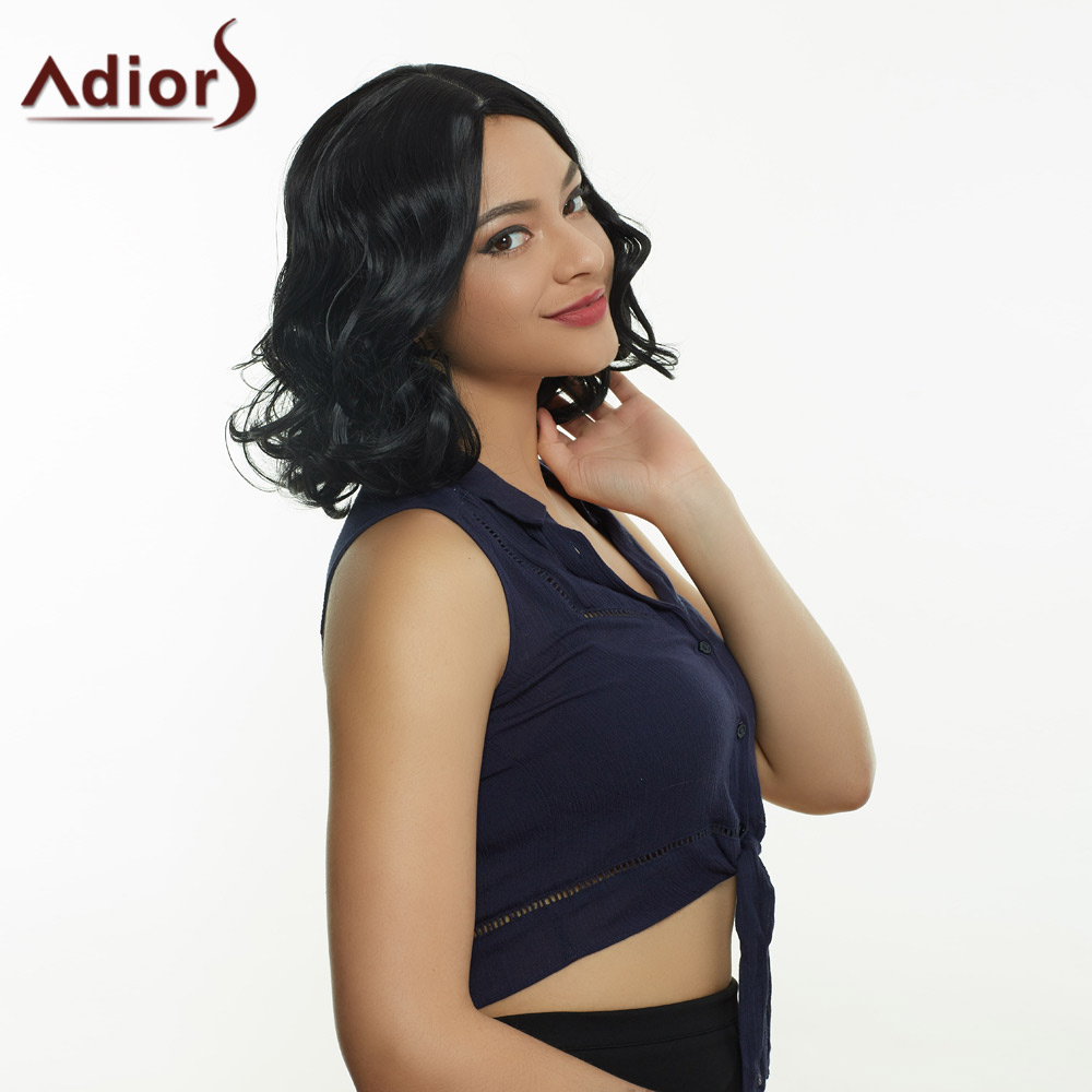 Trendy Medium Curly Black Centre Parting Women's Synthetic Hair Wig
