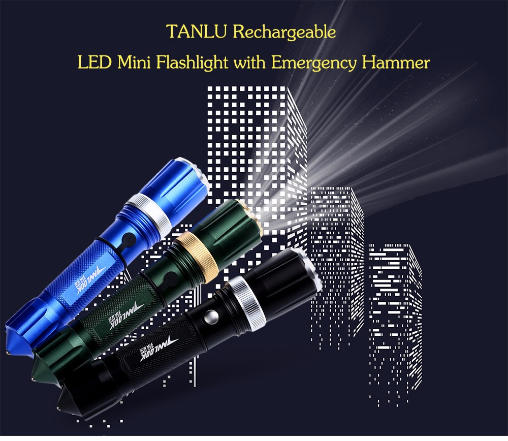 TANLU LED Mini Flashlight Camping Torch Light with Emergency Hammer